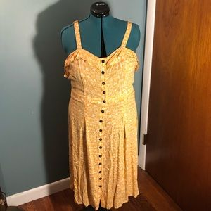 Yellow Midi Dress with button front